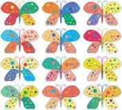 无缝的明亮的五颜六色的蝴蝶背景 免版税库存照片