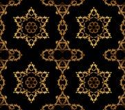 无缝的星和装饰品金子黑色 免版税图库摄影