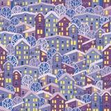 无缝的晚上冬天城市 库存照片