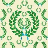 无缝的月桂树花圈模式 免版税库存图片