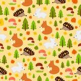 无缝的有动物的纹理秋季森林 图库摄影
