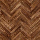 无缝的木木条地板纹理人字形褐色 免版税库存照片