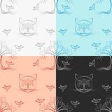 无缝的木猫样式四颜色版本 免版税图库摄影