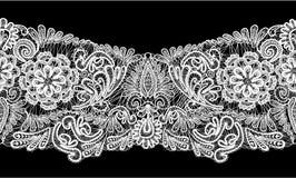 无缝的条纹-花卉鞋带装饰品-白色  免版税图库摄影