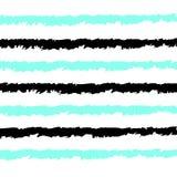 无缝的条纹仿造与水平手拉的传染媒介背景象黑色和水色蓝线白色背景 库存例证