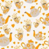 无缝的杯子和茶壶 库存照片