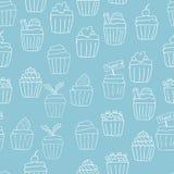 无缝的杯形蛋糕背景 免版税库存照片