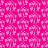 无缝的杯形蛋糕背景 免版税库存图片