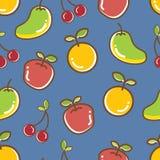 无缝的果子样式,苹果橙色爽快芒果 图库摄影