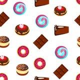 无缝的样式、可口甜点、蛋糕和巧克力,动画片 免版税库存图片