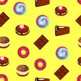 无缝的样式、可口甜点、蛋糕和巧克力,动画片 图库摄影