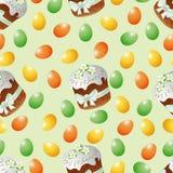 无缝的样式、复活节复活节蛋糕和鸡蛋 免版税库存照片