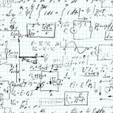无缝的样式、数学运算和初等函数,在习字簿栅格纸的不尽的算术 免版税库存照片