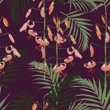 无缝的样式、橙色百合花和绿色棕榈叶在黑暗的紫罗兰色背景 向量例证