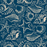 无缝的样式、贝壳、海星和珊瑚 免版税库存照片