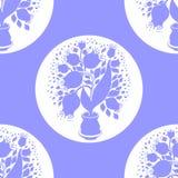 无缝的样式与传统化郁金香剪影在罐的 库存图片
