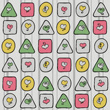 无缝的样式与心脏和与几何形状 免版税图库摄影