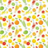 无缝的样式与柑橘产品-桔子,柠檬,石灰,葡萄柚和与Mojito鸡尾酒 向量例证