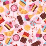 无缝的样式五颜六色的各种各样的糖果,甜点 免版税库存图片