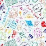 无缝的样式五颜六色的学校用品 免版税库存图片