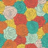 无缝的样式五颜六色的葡萄酒玫瑰。‹ 免版税图库摄影