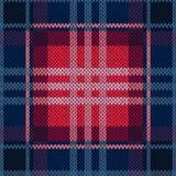 无缝的样式作为在深蓝和红色的一种被编织的织品 免版税库存照片