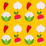 无缝的样式健康新鲜蔬菜 库存例证