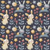 无缝的样式兔子,野兔,蜂,花,动物,植物,心脏,蘑菇,孩子的莓果 免版税库存照片