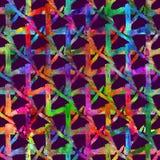 无缝的样式刷子三角格子花呢披肩 在紫罗兰色背景的彩虹颜色 手画农庄纹理 几何的墨水 免版税库存图片