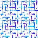 无缝的样式刷子镶边格子花呢披肩 在白色背景的蓝色颜色 手画农庄纹理 几何的墨水 免版税库存图片