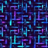 无缝的样式刷子镶边格子花呢披肩 在紫罗兰色背景的蓝色颜色 手画农庄纹理 几何的墨水 库存图片