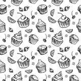 无缝的样式剪影杯形蛋糕 黑色白色 图库摄影