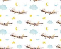 无缝的样式动画片飞机、云彩和星 纯稚背景 与飞机,星的孩子无缝的样式和 向量例证