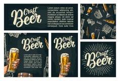 无缝的样式啤酒轻拍、类、罐、瓶和蛇麻草 库存例证