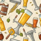 无缝的样式啤酒轻拍、类、罐、瓶和蛇麻草 向量例证