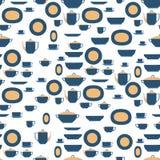 无缝的样式器物 厨房职员板材、杯子、利器和茶具 eps10开花橙色模式缝制的rac ric缝的镶边修整向量墙纸黄色 免版税库存图片