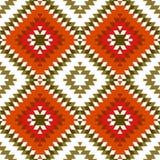 无缝的样式土耳其地毯黄色米黄橙色卡其色的褐色 补缀品马赛克东方人与传统民间geometr的kilim地毯 向量例证