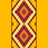 无缝的样式土耳其地毯黄色米黄橙色褐色 补缀品马赛克东方人与传统民间几何orn的kilim地毯 皇族释放例证