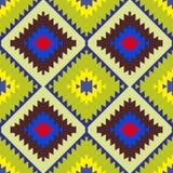 无缝的样式土耳其地毯黄色蓝色红色绿色褐色 补缀品马赛克东方人与传统民间几何o的kilim地毯 皇族释放例证
