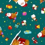 无缝的样式圣诞快乐和新年快乐,帽子有礼物的和雪人的朋友圣诞老人在围巾 免版税库存照片