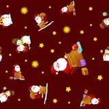 无缝的样式圣诞快乐和新年快乐,帽子有礼物的和雪人的朋友圣诞老人在围巾 库存照片