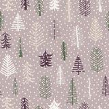 无缝的样式圣诞树样式重复瓦片 紫色,gr 向量例证