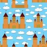 无缝的样式城堡,童话风景 与云彩的蓝色背景 向量 免版税库存照片
