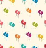 无缝的样式多彩多姿的气球为生日快乐 库存图片