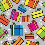 无缝的样式多色礼物盒 免版税库存照片