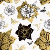 无缝的样式开花,蝴蝶,蜂鸟,白色背景 库存例证