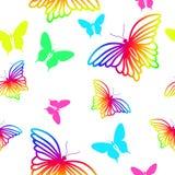 无缝的样式彩虹蝴蝶 图库摄影