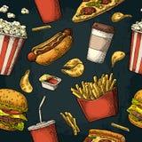 无缝的样式快餐 向量例证