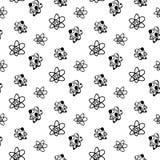 无缝的样式手拉的原子乱画 回到学校,象的剪影 装饰元素 背景查出的白色 向量 皇族释放例证