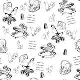 无缝的样式手拉的婴孩摇篮车,小步行者,围嘴,瓶 向量例证